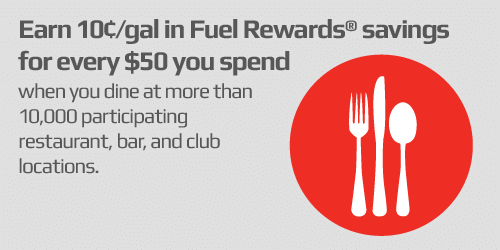 Dining | Earn 10¢/gal in Fuel Rewards Savings for every $50 you spend