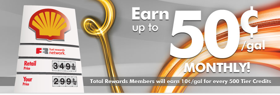 Total Rewards Members will earn 10¢/gal for every 500 Tier Credits